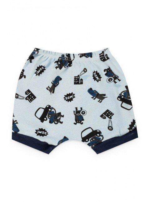 short azul bebe carrinho menino piradinhos