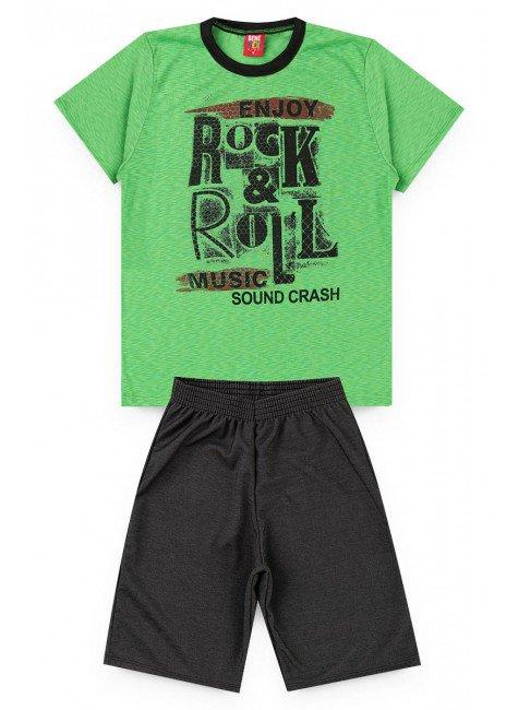 conjunto juvenil menino short camisa verde