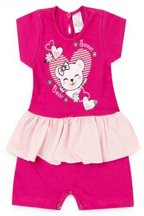 macacao menina pink ursinho