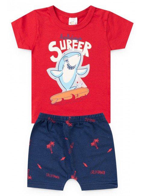 conjunto bebe menino blusa short vermelho