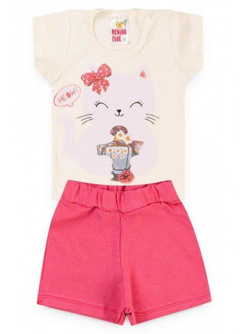 conjunto menina bebe blusa short cru