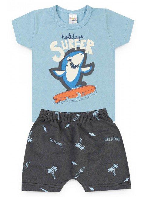 conjunto menino bebe blusa short azul