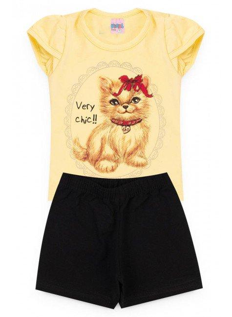 conjunto amarelo gato piradinhos