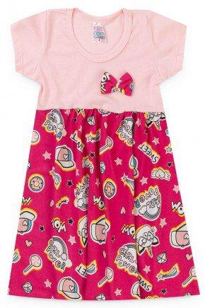 vestido pink piradinhos