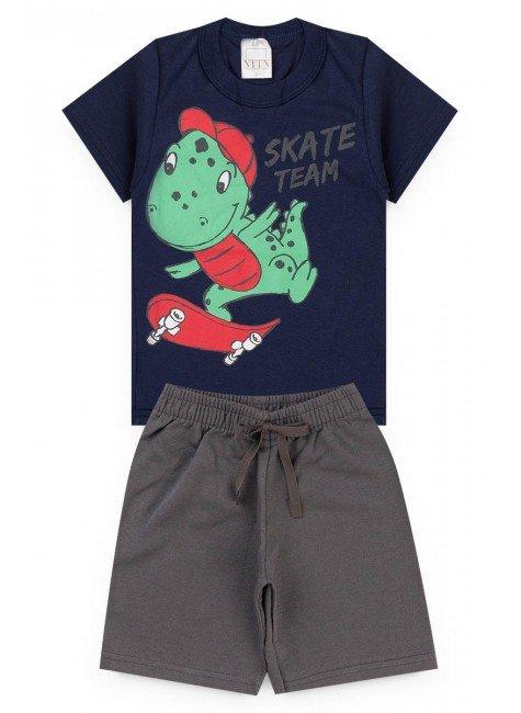 conjunto menino marinho camiseta bermuda dino piradinhos