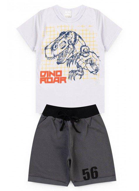 conjunto menino dinossauro branco camiseta bermuda piradinhos