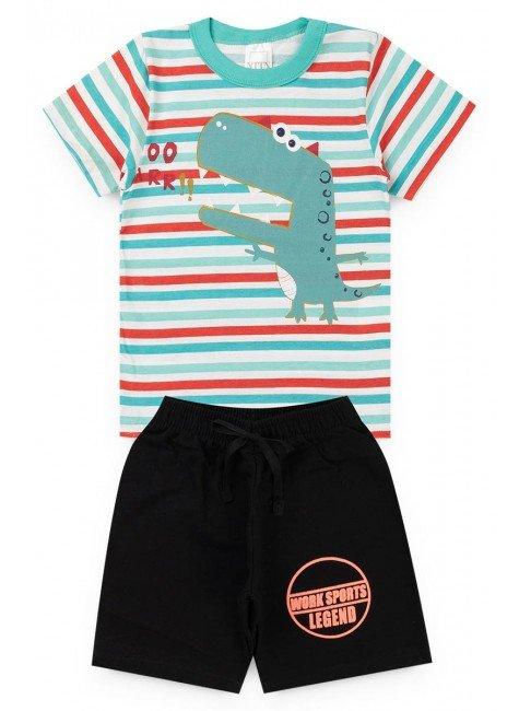 conjunto listrado menino camiseta bermuda dino piradinhos