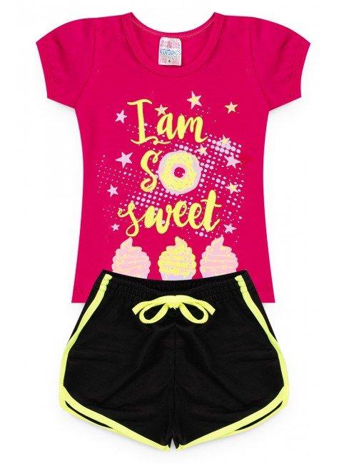 conjunto menina iam pink short camiseta piradinhos