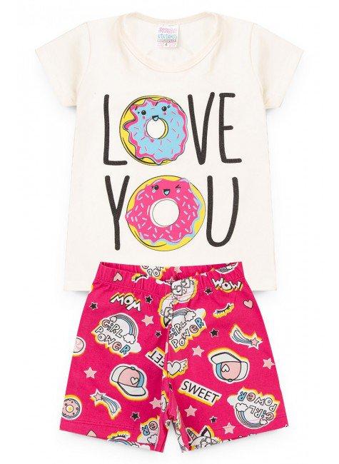 conjunto menina camiseta legging branco love piradinhos