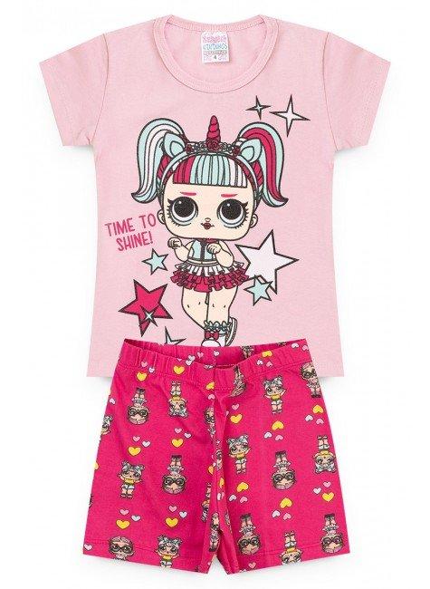 conjunto lol menina rosa legging camiseta piradinhos