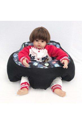 suporte bebe preto espaco piradinhos
