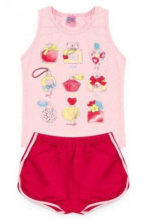 conjunto menina perfume camiseta short rosa piradinhos