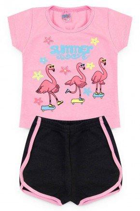 conjunto menina flamingo rosa camiseta shorts piradinhos