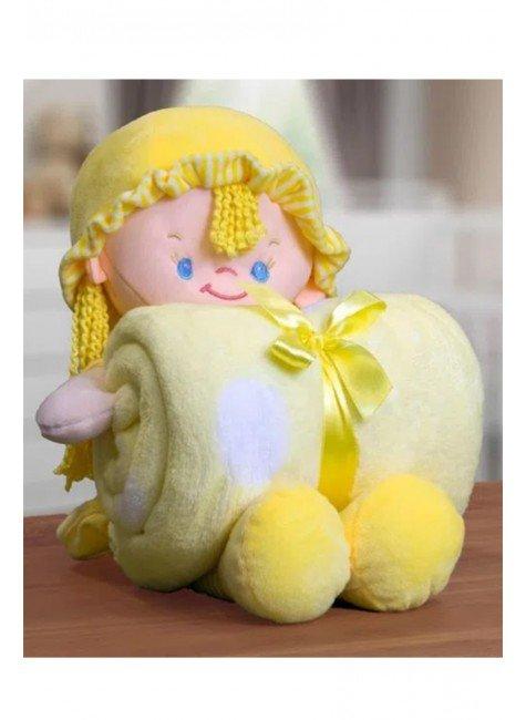 manta boneca amarelo piradinhos
