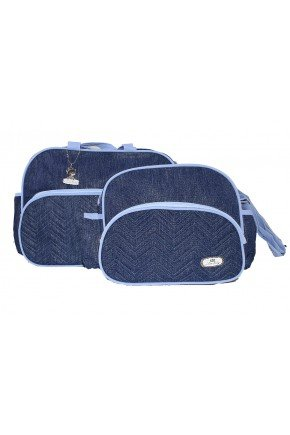 kit bolsa azul piradinhos