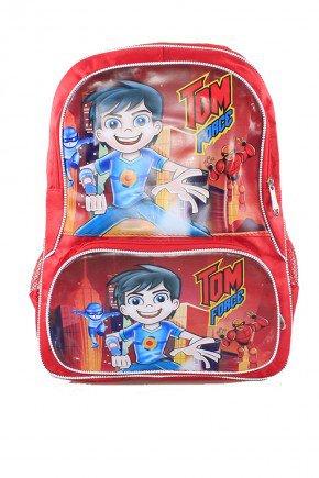 mochila vermelha menino piradinhos