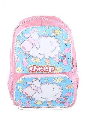 mochila rosa ovelha piradinhos