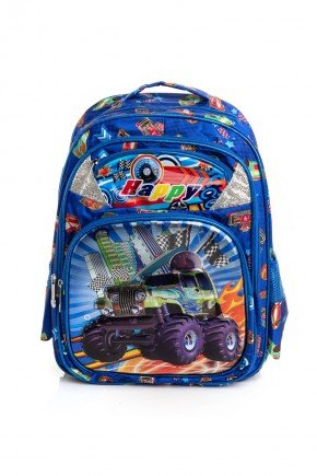 mochila azul carro piradinhos