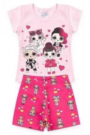 conjunto rosa boneca legging pink piradinhos menina verao