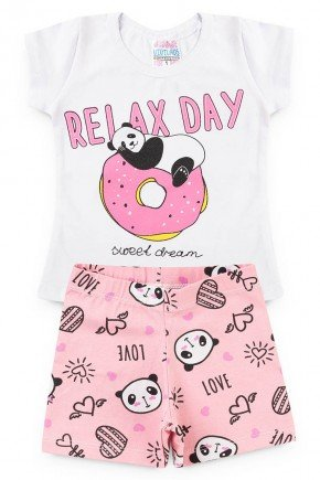 panda conjunto piradinhos blusa branco short panda rosa menina verao