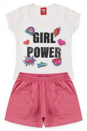 conjunto menina juvenil girlpower camiseta short rosa piradinhos