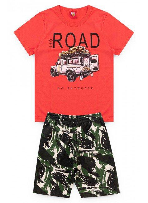 conjunto road coral juvenil camiseta sort piradinhos