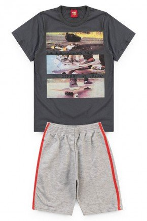 conjunto juvenil skate chumbo camiseta short piradinhos