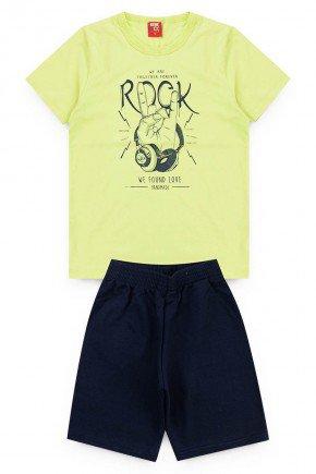 conjunto juvenil verdelima rock camiseta short piradinhos
