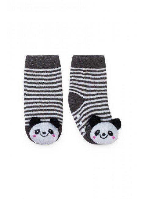 meia panda listrado cinza piradinhos