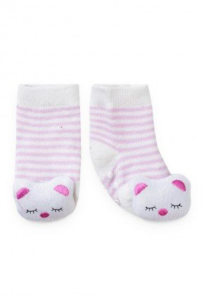 meia gatinho listrado rosa branco piradinhos menina infantil