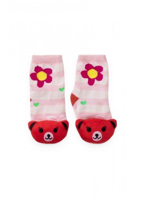 meia flor urso piradinhos menina rosa vermelho infantil