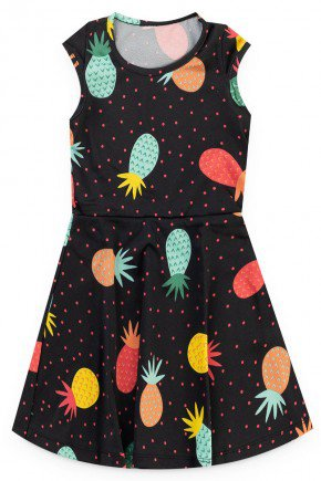 vestido preto abacaxi verao menina piradinhos
