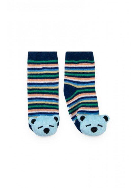 meia listrado azul urso piradinhos menino