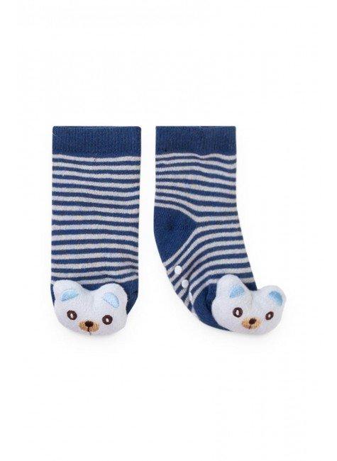 meia urso royal azul piradinhos menino infantil bebe