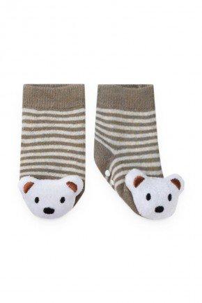 meia urso caqui piradinhos bebe infantil inverno