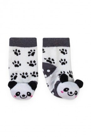 meia patas panda branco preto piradinhos