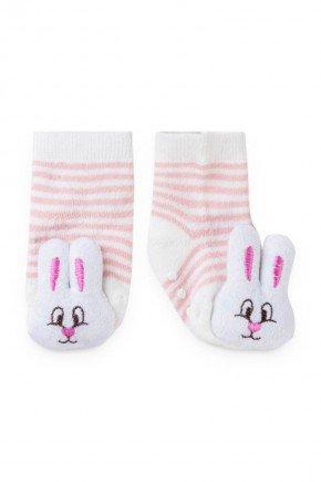 meia rosa listrado coelho branco infantil bebe piradinhos menina