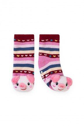 porco listrado rosa coloriod piradinhos menina bebe infantil