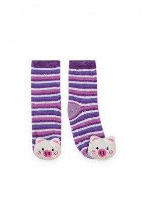 meia listrada lilas porco piradinhos bebe infantil