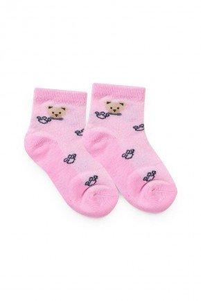 meia rosa urso piradinhos bebe infantil