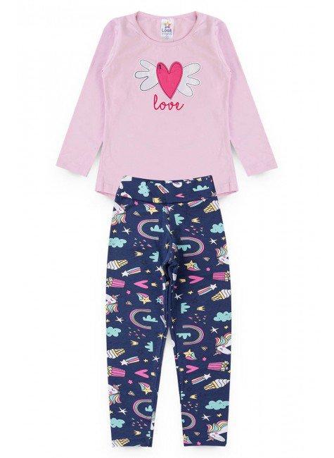 conjunto rosa coracao inverno menina piradinhos