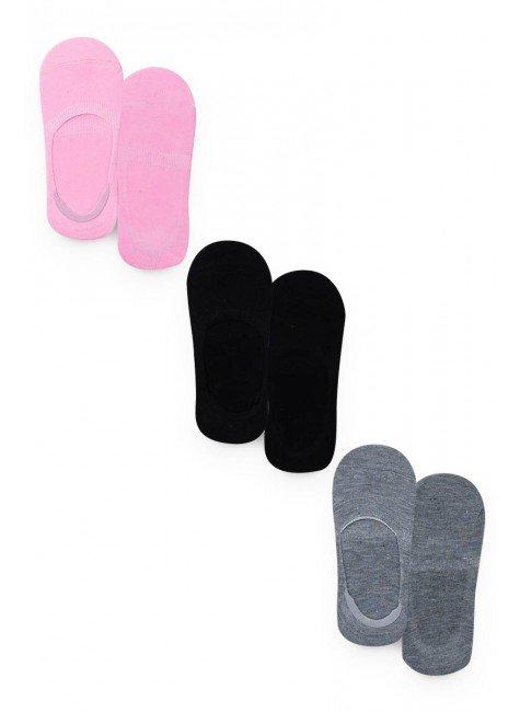 meia sapatilha kit colorido menina inverno rosa mescla preto