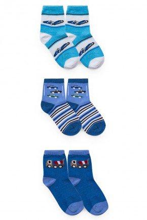 meia kit azul piradinhos menino inverno