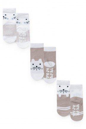 meia kit pares urso piradinhos caqui bebe inverno