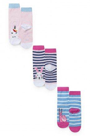 meia kit par colelho unicornio piradinhos bebe menina infantil inverno