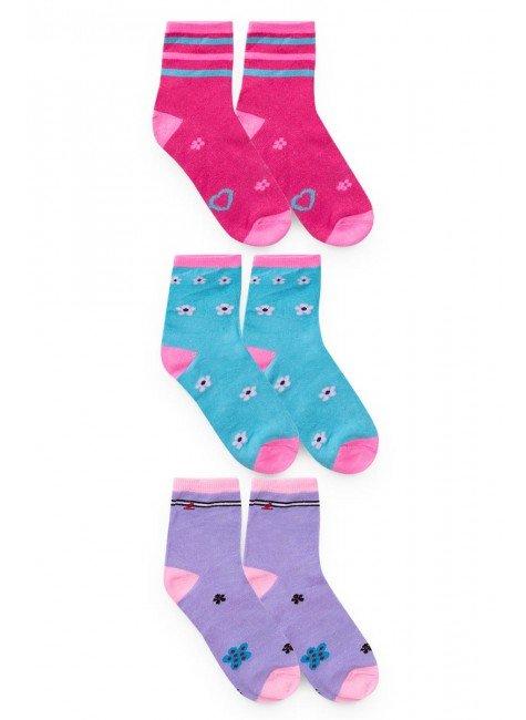 meia kit pares piradinhos rosa azul lilas bebe infantil menina inverno