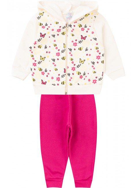 conjunto menina ziper inverno infantil piradinhos moletom pink cru