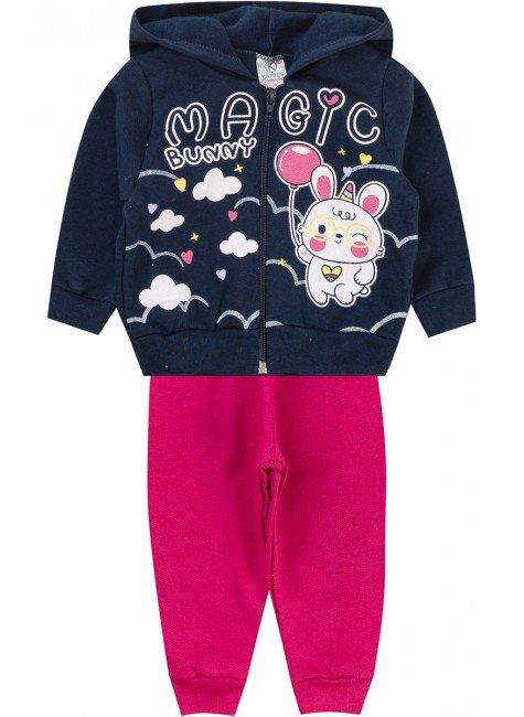 conjunto menina ziper inverno infantil piradinhos moletom pink marinho