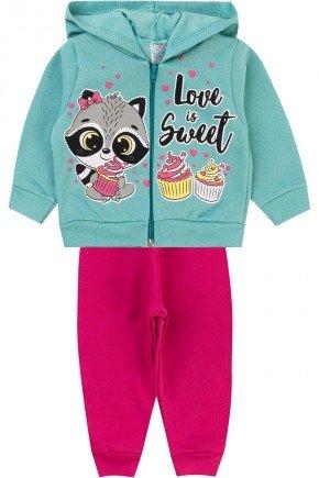 conjunto menina ziper inverno infantil piradinhos moletom pink verde
