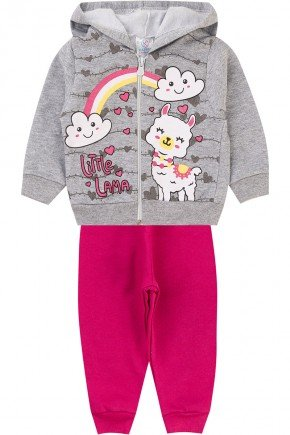 conjunto menina ziper inverno infantil piradinhos moletom pink mescla